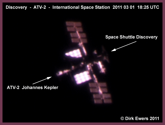 ATV2 - Discovery - ISS 01.03.2011 seen at 18:25 GMT